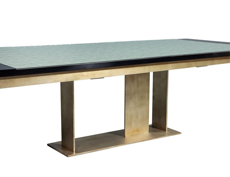 Carrocel Custom Modern Glass Top Dining Table with Brass Base In New Condition For Sale In North York, ON