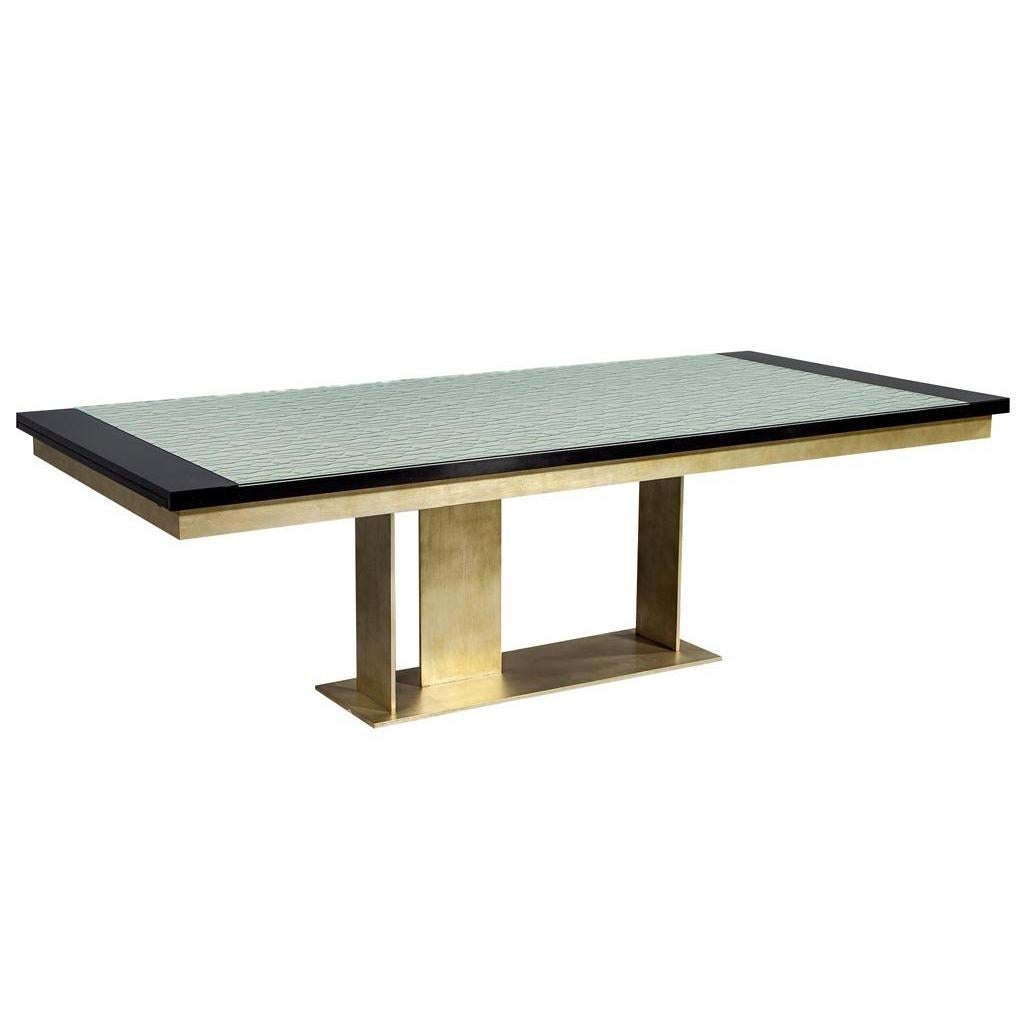 Carrocel Custom Modern Glass Top Dining Table With Brass Base For Sale