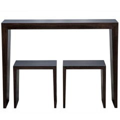 Carrocel Custom Walnut Console Table with Stool Set