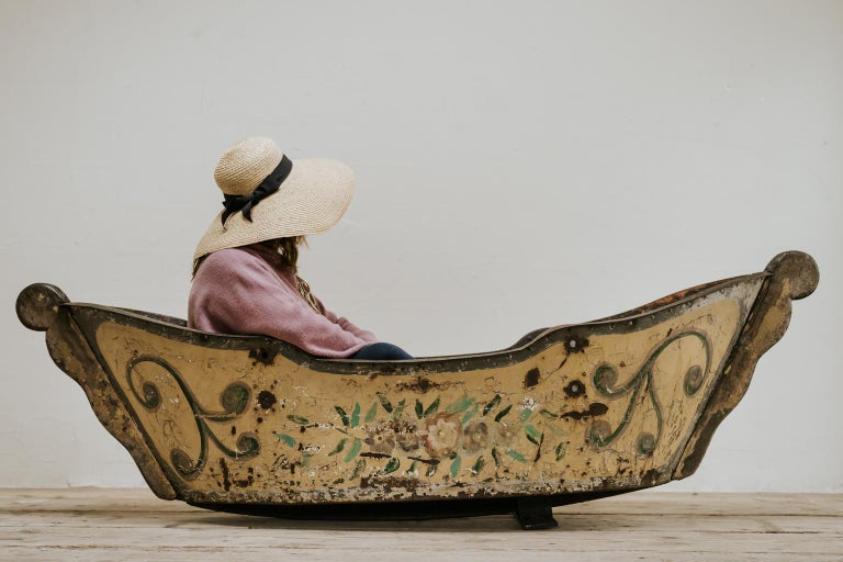 this boat was made for a French carroussel/merry-go-round, handpainted, beginning of the 20th century, iron and wood, makes a great planter/jardinière for your garden ...