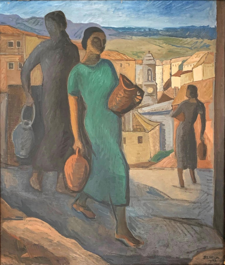 A striking and atmospheric depiction of women fetching water in jugs and urns, descending into a lovely, picturesque hill town in Italy, this painting was made in 1942 by Sophie-Louise Wachtmeister, a kind of