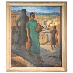 """Carrying Water,"" Striking Scene of Women in Italian Hill Town by Wachtmeister"