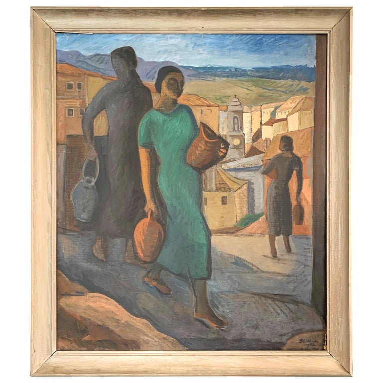 """Carrying Water,"" Striking Scene of Women in Italian Hill Town by Wachtmeister For Sale"