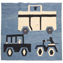 Cars and Motorcycle Vintage Persian Flat-Weave