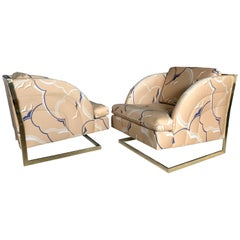 Carson's, Inc of High Point Brass Plated Cantilevered Lounge Chairs