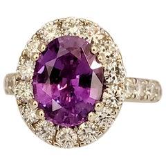 Carte Blu Certified 3.40 Carat Oval Purple Sapphire & Diam Ring in 18K Gold