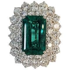 Carte Blu Certified 7.85 Carat Emerald Cut Emerald & Diamond Ring in Platinum