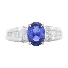 Carte Blue Certified 1.71 Carat Oval Blue Sapphire & Diamond Ring in 18k Gold
