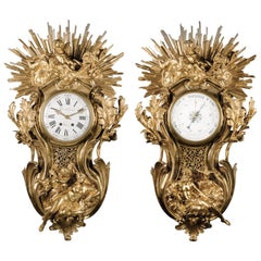 Cartel Clock and Barometer Set after a Model by Jacques Caffieri