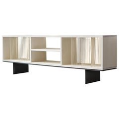 Modern Carter Credenza Vinyl Storage Case in Bleached Maple by Ordinal Indicator