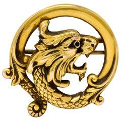 Carter & Gough Art Nouveau 14 Karat Gold Chimera Dragon Watch Pin