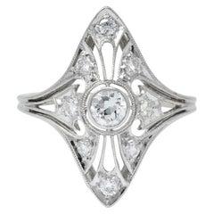 Carter & Gough Edwardian 0.50 Carat Diamond Platinum Navette Ring