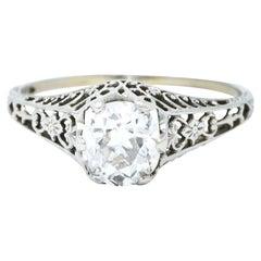 Carter & Gough Edwardian 1.10 Carat Diamond 18 Karat White Gold Engagement Ring
