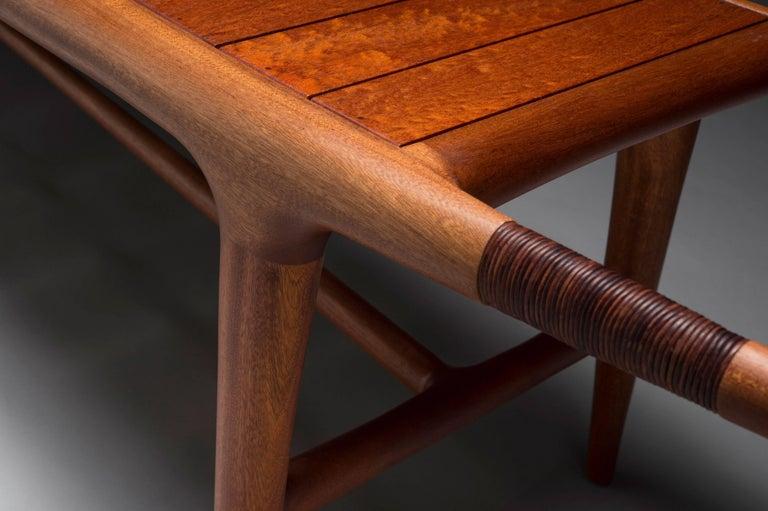American Craftsman Carter Hopkins Khafra Bench, Sapele Wood and Leather, 2015 For Sale