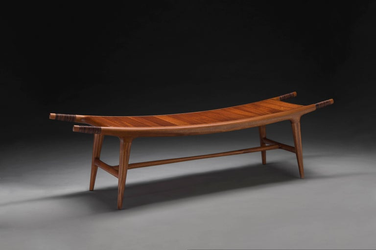 American Carter Hopkins Khafra Bench, Sapele Wood and Leather, 2015 For Sale