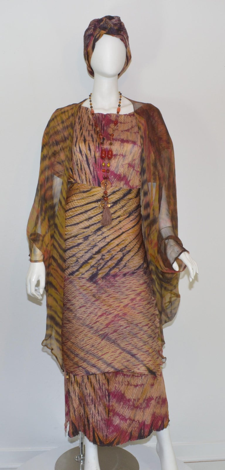 Carter Smith Shibori Maxi Dress Ensemble from the legendary San Francisco Art to Wear Mecca, Obiko. Ensemble includes 4 pieces. : turban style head piece, with Head Piece, Necklace, dress, chiffon duster vest. Fabric is hand dyed silk in the shibori