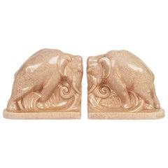 Carter Stabler & Adams Poole Pottery Art Deco Glazed Pottery Elephant Bookends