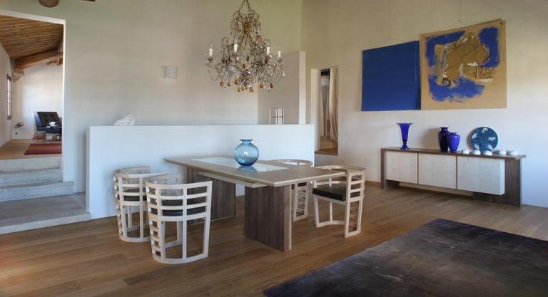 Italian Cartesia, Contemporary Table or Desk in Walnut & Maple Wood, Design Franco Poli For Sale