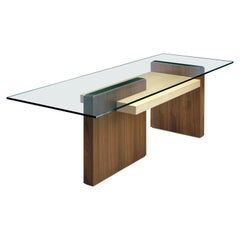 Cartesia, Contemporary Table or Desk in Walnut & Maple Wood, Design Franco Poli