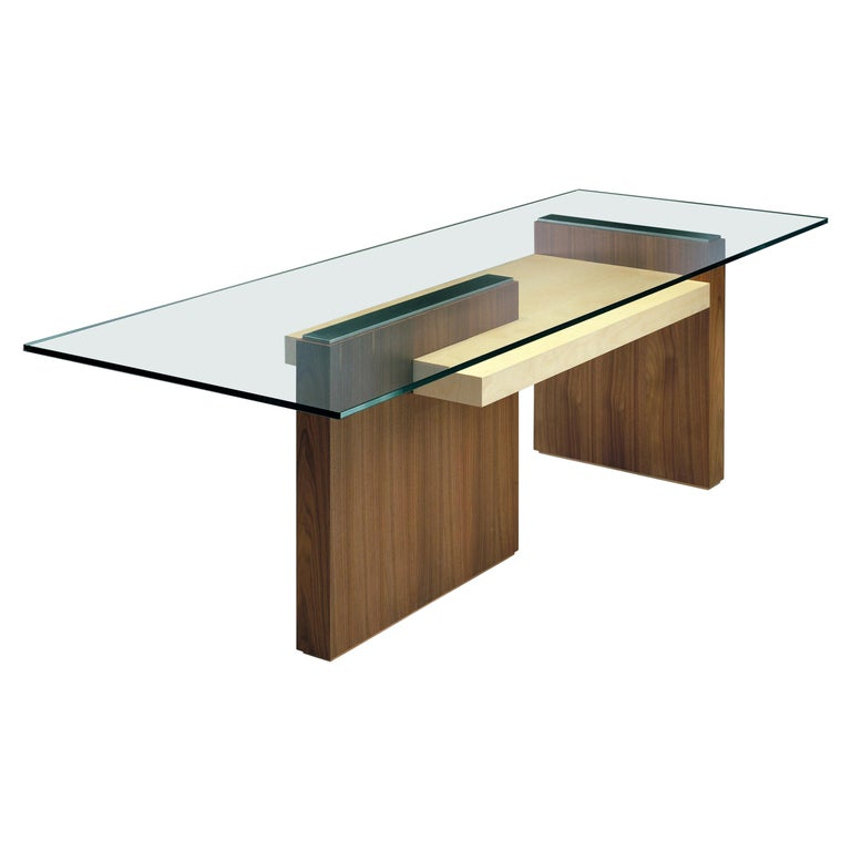 Cartesia, Contemporary Table or Desk in Walnut & Maple Wood, Design Franco Poli For Sale