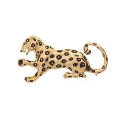 Cartier .03 Carat Emerald Yellow Gold Panther Brooch
