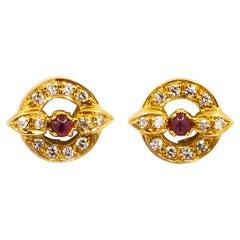 Cartier 0.32 Carat Diamonds 0.18 Carat Rubies 18 Karat Yellow Gold Earrings
