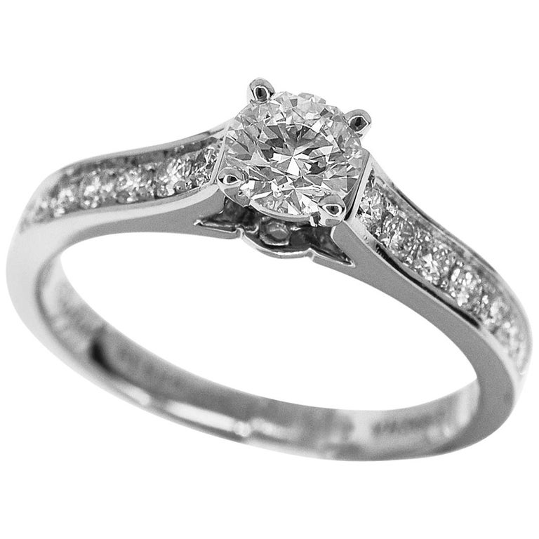 Cartier 0 33 Carat Diamond Platinum 1895 Solitaire Ring Us 4 3 For Sale