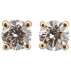 Cartier 0.48 Carat Diamonds 18 Karat Yellow Gold Earrings