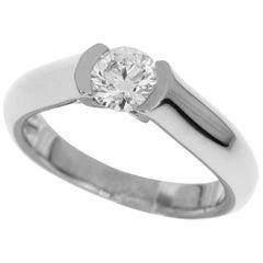 Cartier 0.56 Carat Diamond 18 Karat White Gold Solitaire C De Ring