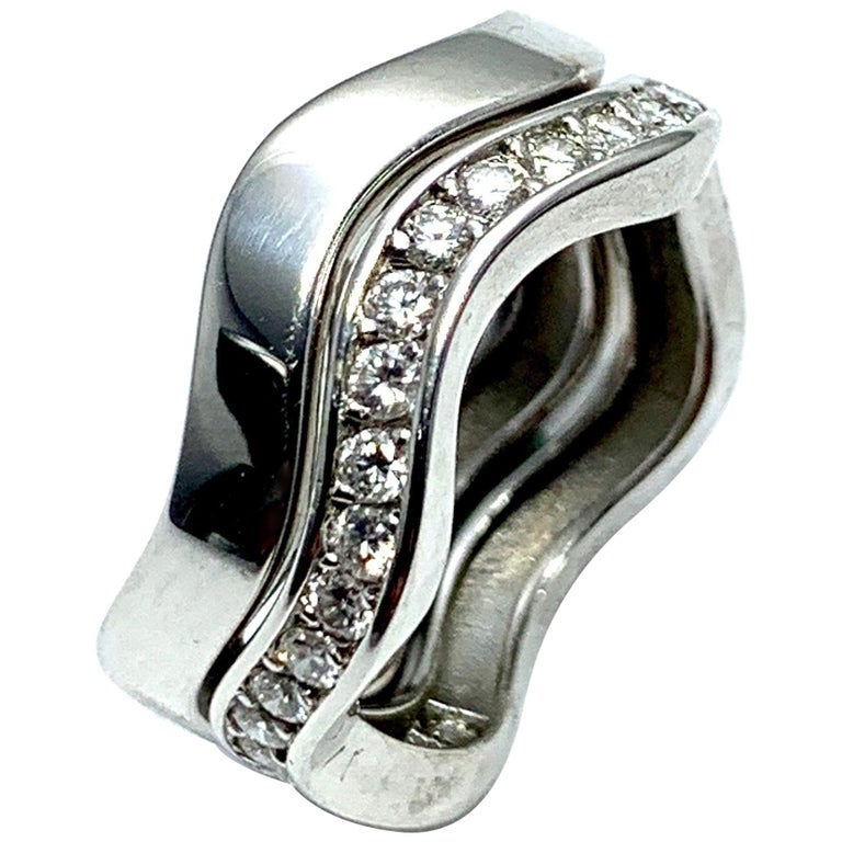 Cartier 0.60 Carat and 18 Karat White Gold Wave Bands For Sale