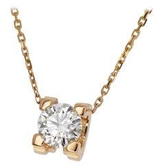 Cartier 0.78 Carat GIA Diamond 18 Karat Pink Gold C de Cartier Pendant Necklace