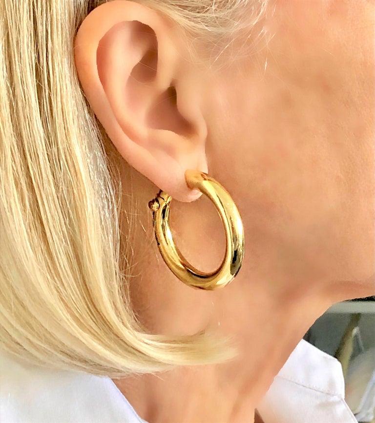 Cartier Large Gold Hoop Earrings for Non Pierced Ears For Sale 4