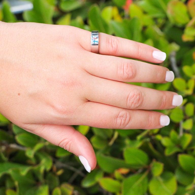 • 1 Carat Aquamarine • 18K White Gold • Cartier ring