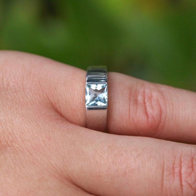 Round Cut Cartier 1 Carat Aquamarine Ring For Sale