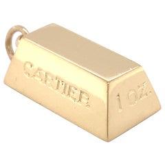 Cartier 1 OZ. 18 Karat Yellow Gold Vintage Ingot Bar Pendant Charm