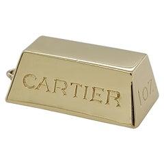 Cartier 1 oz Ingot Brick Bar Solid 18 Karat Gold Charm or Pendant from 1970s
