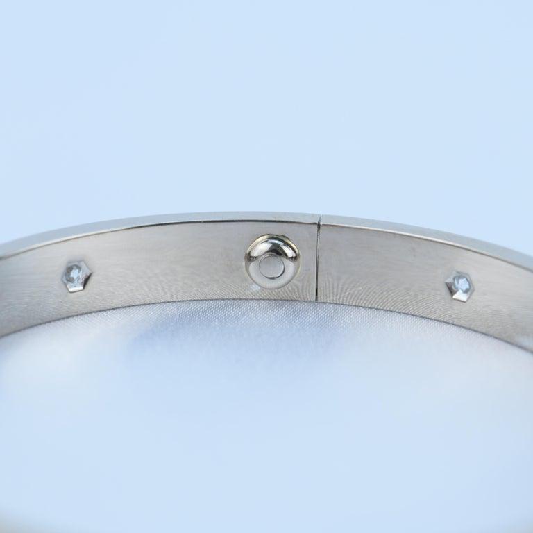 Women's or Men's Cartier 10 Diamond Love Bracelet in 18K White Gold For Sale