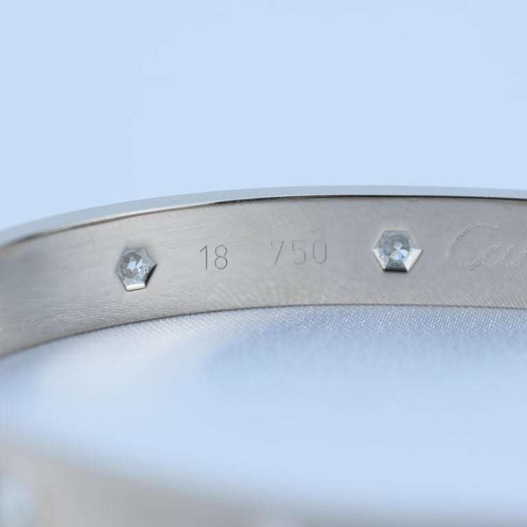Cartier 10 Diamond Love Bracelet in 18K White Gold For Sale 1