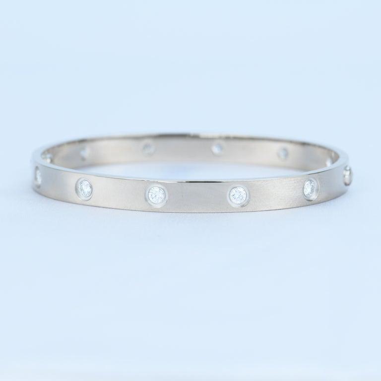 Cartier 10 Diamond Love Bracelet in 18K White Gold For Sale 2