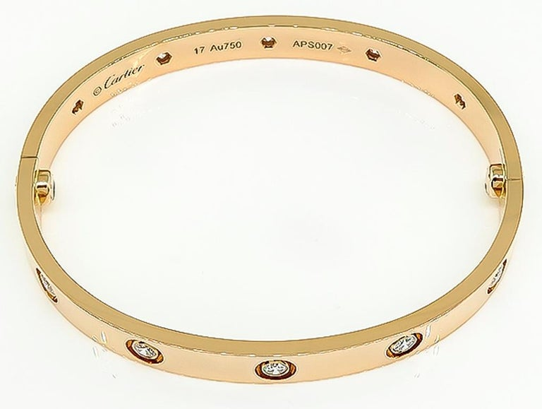 Round Cut Cartier 10 Diamond Rose Gold Love Bangle For Sale