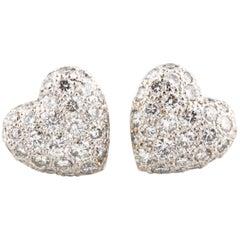 Cartier 1.00 Carat Colorless VVS Pavé Diamond 18 Karat White Gold Heart Earrings