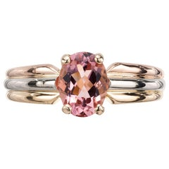 Cartier 1.00 Carat Pink Tourmaline Tri-Color Gold Engagement Ring