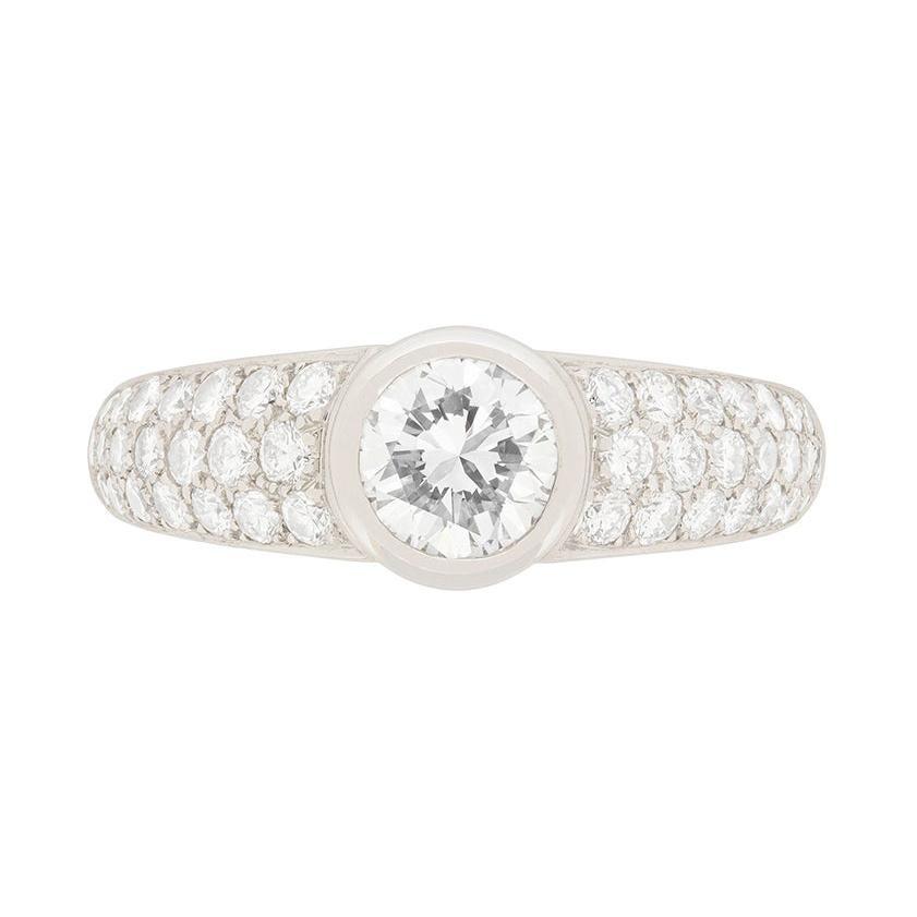 Cartier 1.00 Carat Diamond Pave Engagement Ring