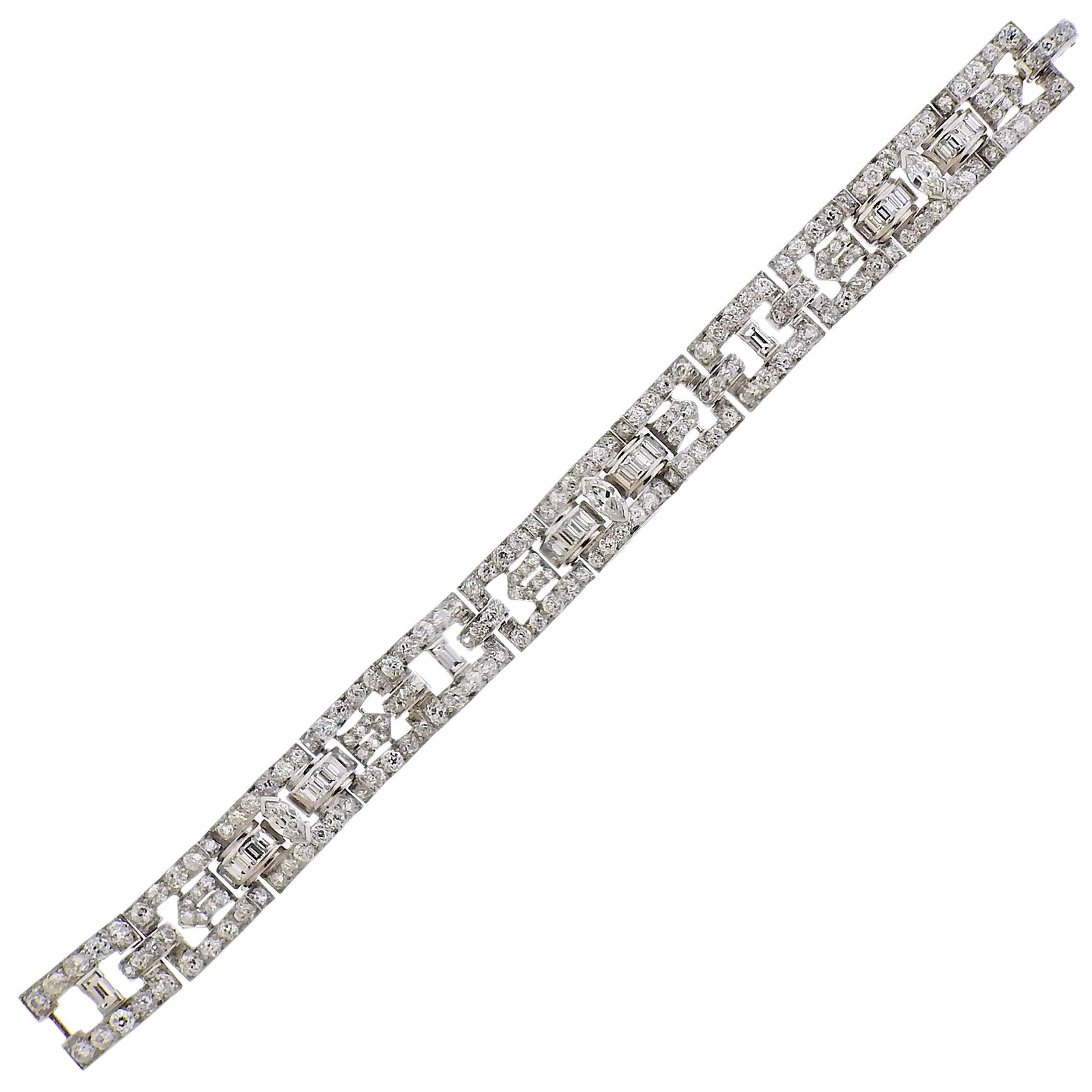 Cartier Art Deco 12 Carat Diamond Platinum Bracelet