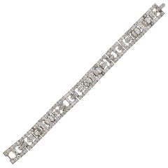 Cartier Art Deco 12 Carat Diamond Platinum Bracelet