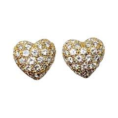 Cartier 1.20 Carat Total Diamond Pave Heart Stud Earrings in 18 Karat Gold