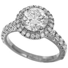 Cartier 1.27 Carat Diamond Platinum Halo Destinée Solitaire Ring