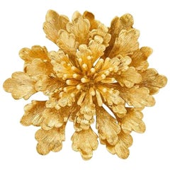 Cartier 14 Karat Gold Flower Clip-Brooch