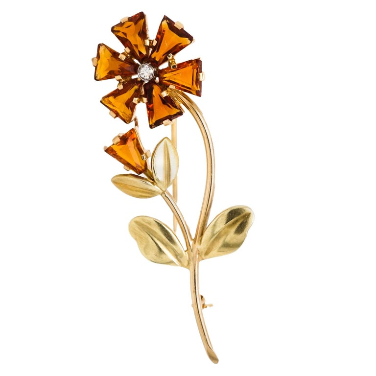 Cartier Retro Citrine Diamond Gold Flower Brooch Pin  For Sale