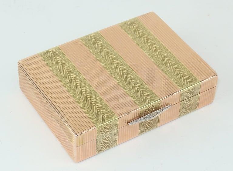 Art Deco Cartier 14K Rose Gold & Diamond Box For Sale
